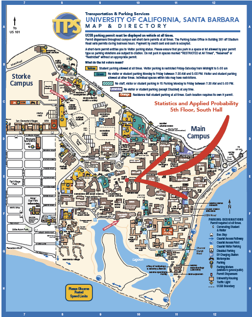 Map of UCSB Campus noting the location of South Hall