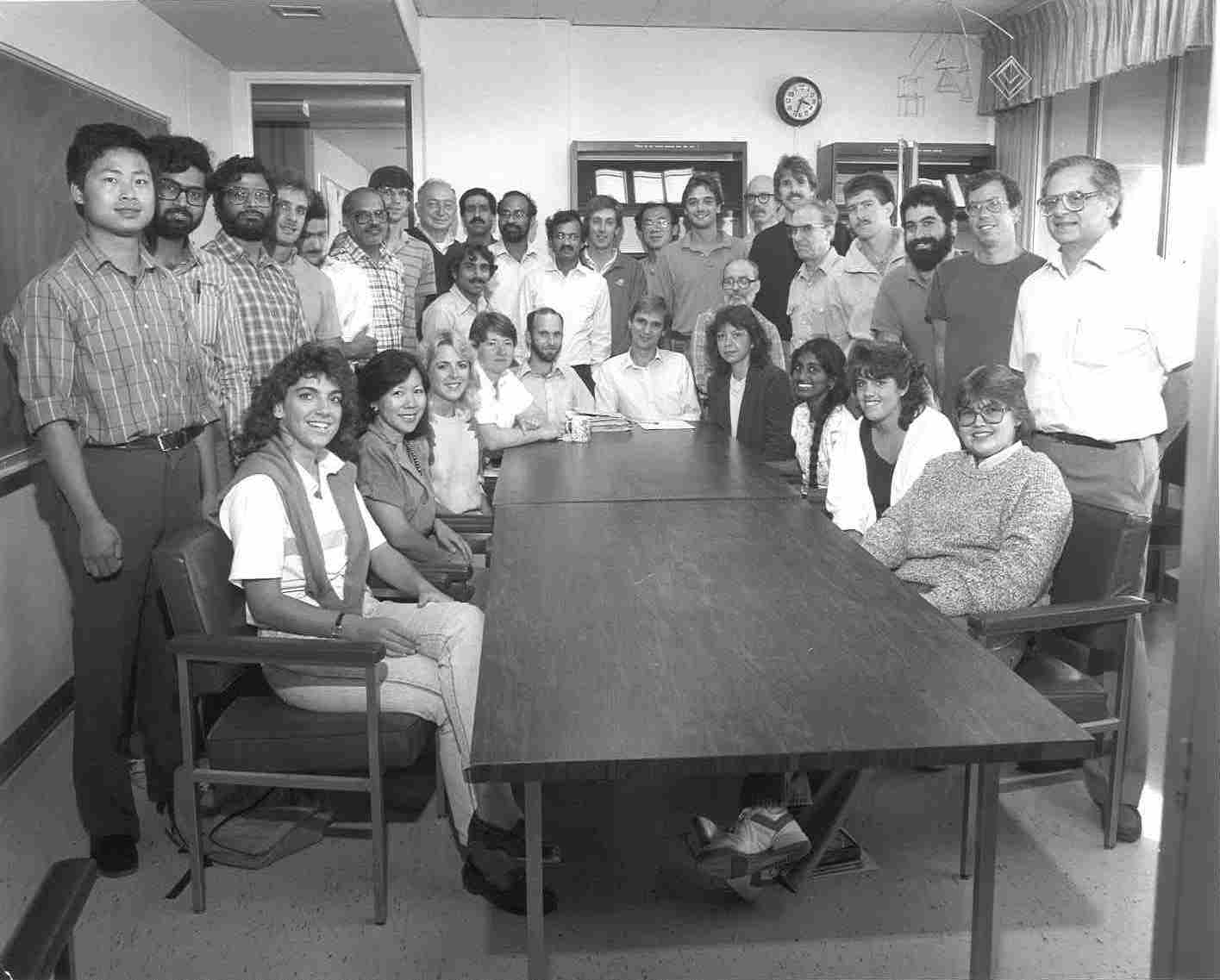 black and white photo of statistics and applied probability staff from 1987